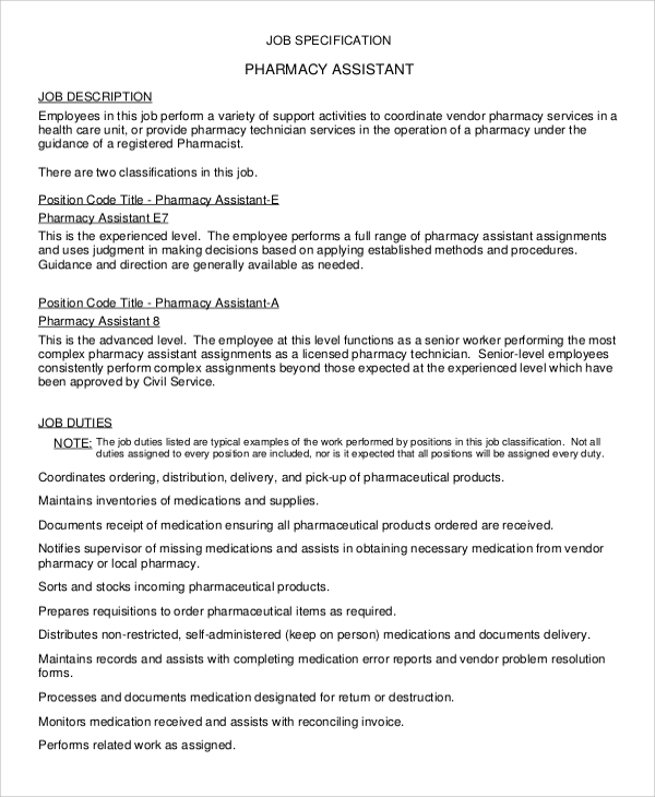 Sample Pharmacist Job Description - 8+ Examples in Word, PDF