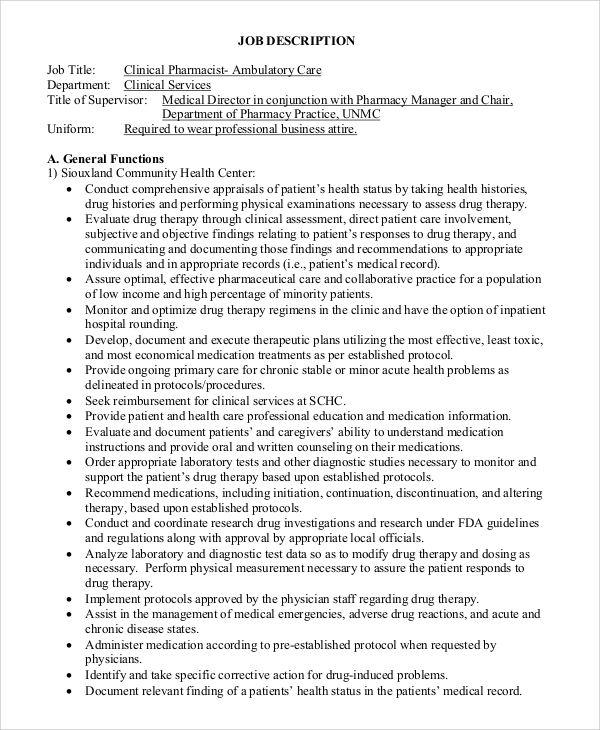 Sample Pharmacist Job Description 8 Examples in Word PDF – Pharmacist Job Description