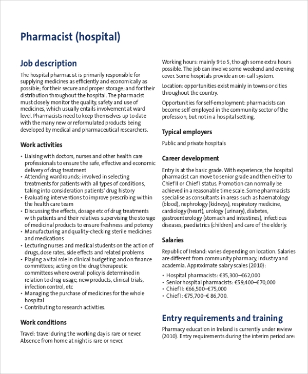 hospital pharmacist job description
