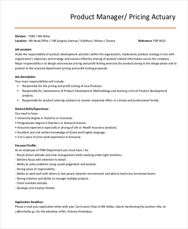8 actuary job description samples sample templates - Insurance compliance officer job description ...