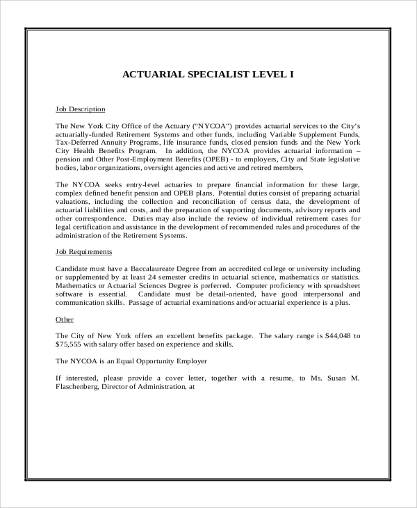 actuarial specialist job description