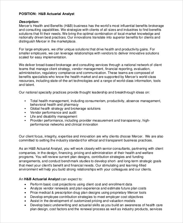 sample actuary job description 8 examples in pdf - Actuary Resume