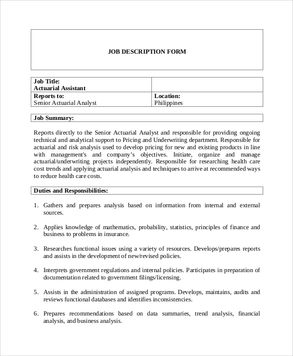 Sample Actuary Job Description 8 Examples in PDF – Actuary Job Description
