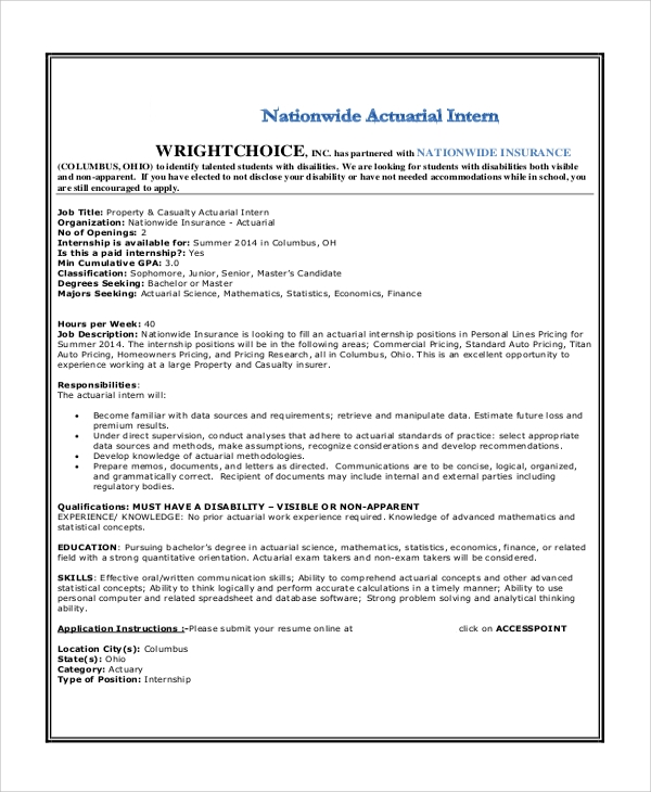 property casualty actuarial intern job description