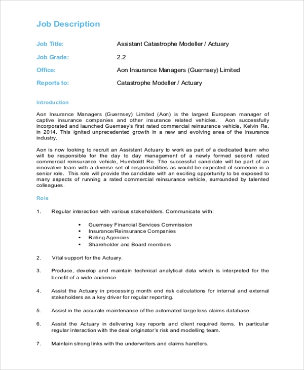 Sample Actuary Job Description   Examples In Pdf