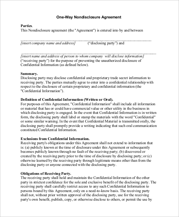 Lovely One Way Non Disclosure Agreement Sample  Mutual Agreement Format