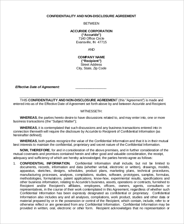 Sample Non Disclosure Agreement In Pdf - 10+ Examples In Pdf