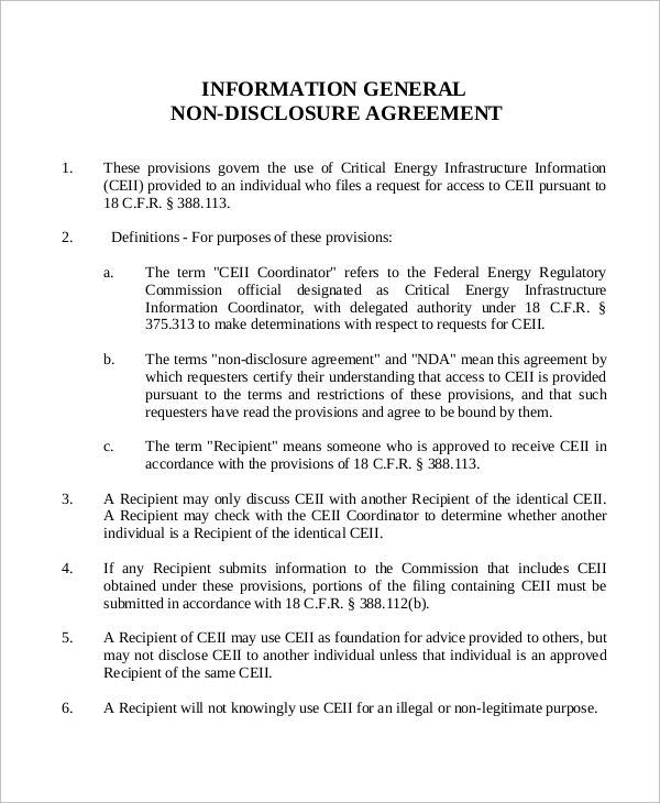 general information non disclosure agreement pdf
