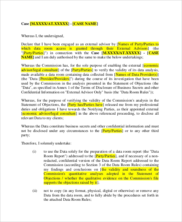 sample non disclosure agreement in pdf