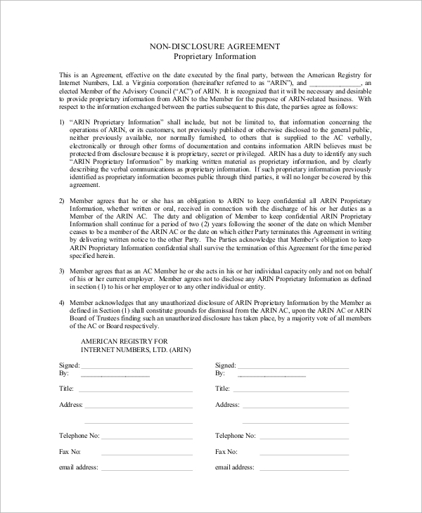 10 sample non disclosure agreements in pdf sample templates for Generic nda template
