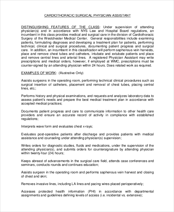 Sample Physician Job Description   Examples In Pdf Word