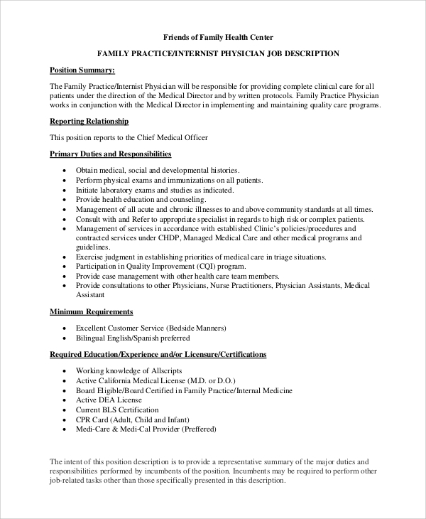 Sample Physician Job Description - 10+ Examples In Pdf, Word