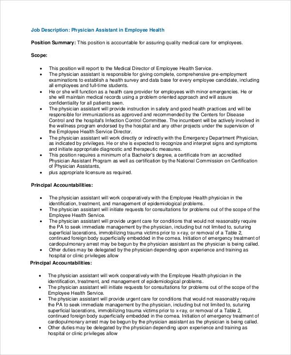 sample physician job description