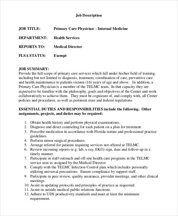 primary care physician job description