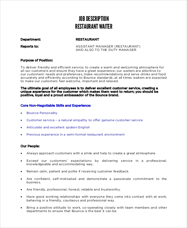 Sample Waiter Job Description - 11+ Examples in PDF