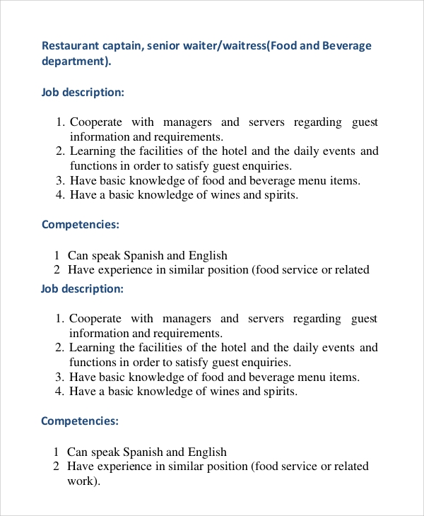 Sample Waiter Job Description - 9+ Examples In Pdf