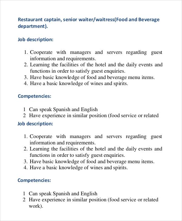 Server And Bartender Resumes Job Description Resume Example Cover