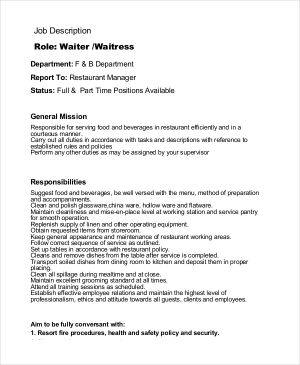Sample Waiter Job Description 11 Examples In Pdf