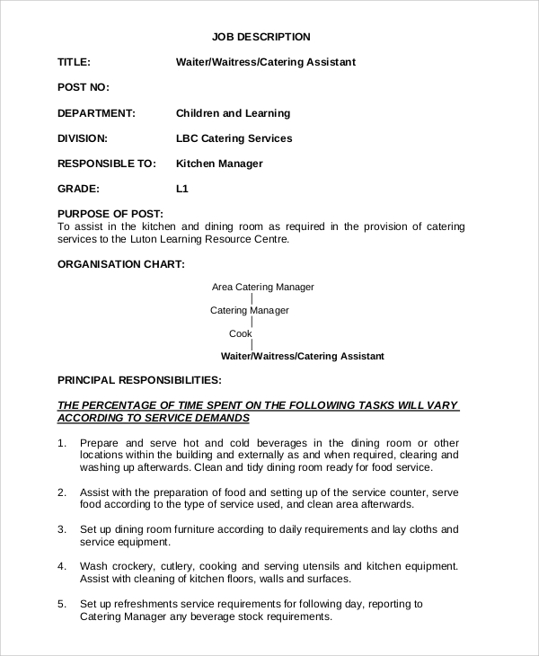 Ceo Job Duties Doc Tk Ceo Job Duties 23 04 2017. Catering Job