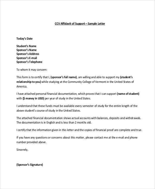 exceptionnel Affidavit of Support Sample Letter