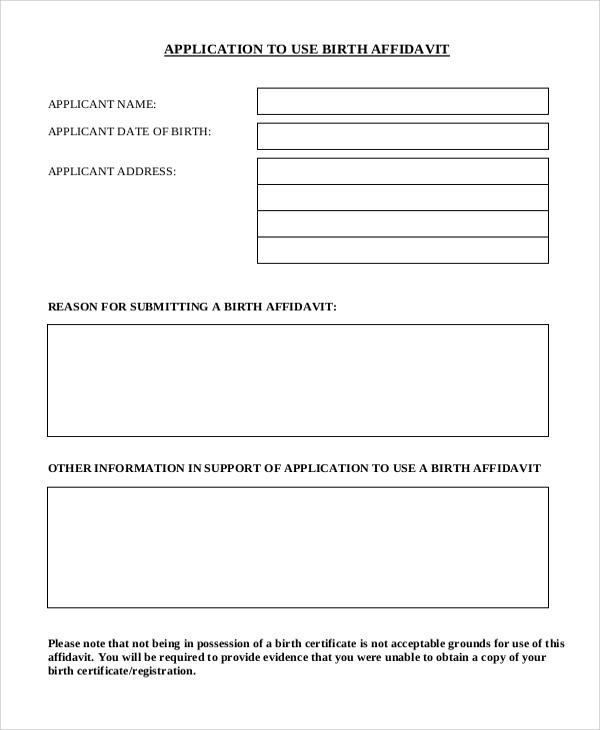 birth affidavit letter