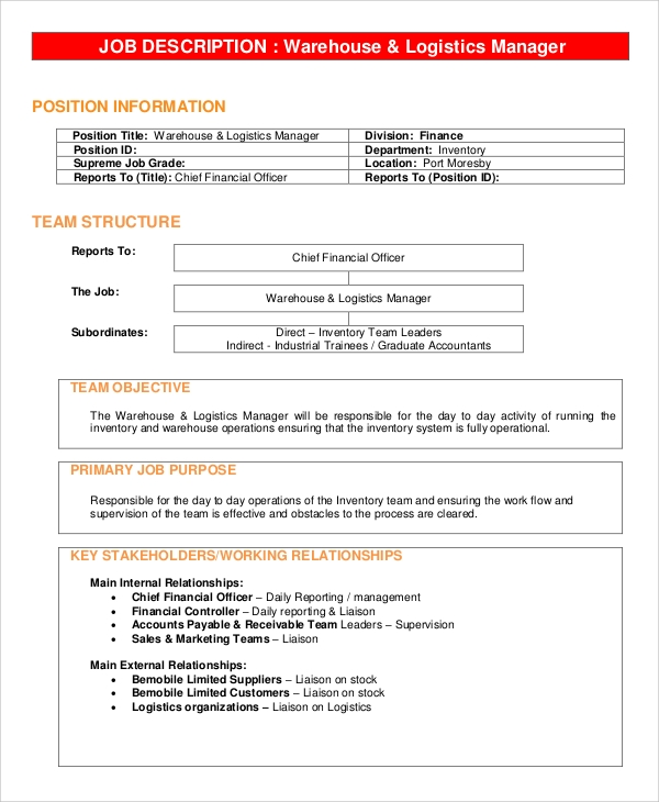 Sample Warehouse Manager Job Description   Examples In Pdf Word