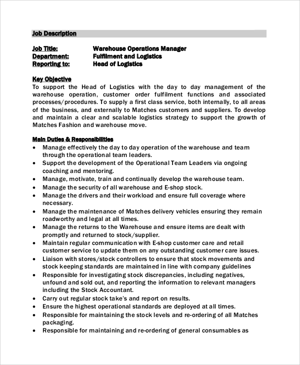 Captivating Warehouse Operation Manager Job Description Example