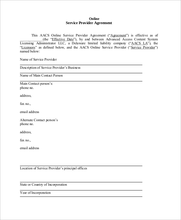 11 sample service agreements pdf word sample templates for Service provider agreement template free