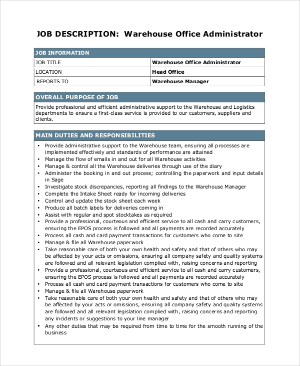 10 warehouse manager job description samples sample templates - Office administrator job responsibilities ...