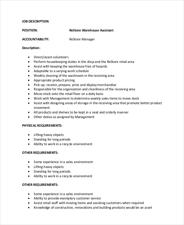 Restore Warehouse Assistant Manager Job Description