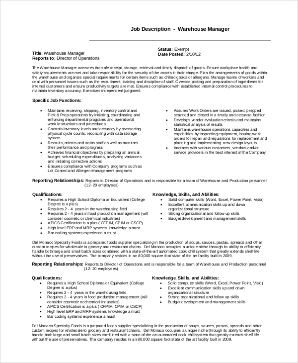 Sample Warehouse Manager Job Description 10 Examples in PDF Word – Production Director Job Description