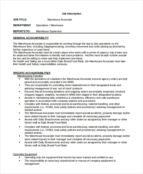 Warehouse Associate Manager Job Description In Word