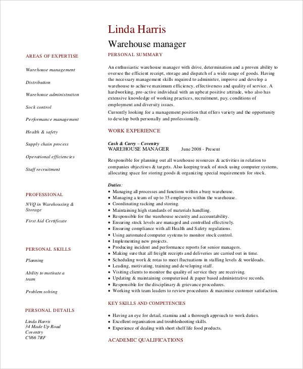 sample warehouse manager job description 10 examples in