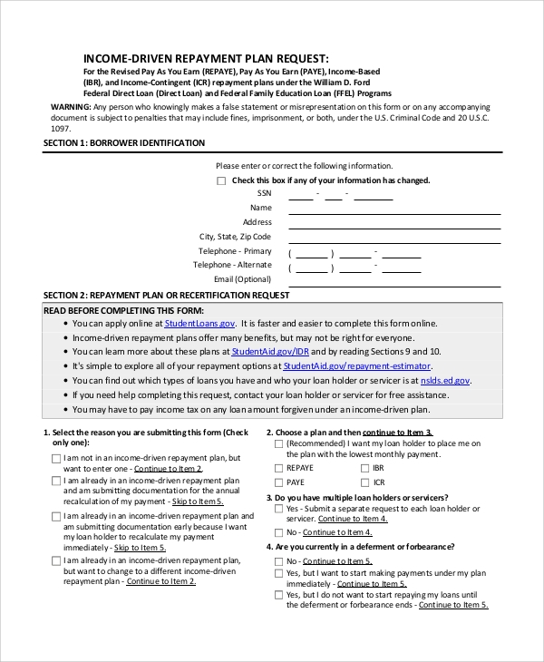 Sample Income Based Repayment Form 6 Examples in PDF – Income Based Repayment Form