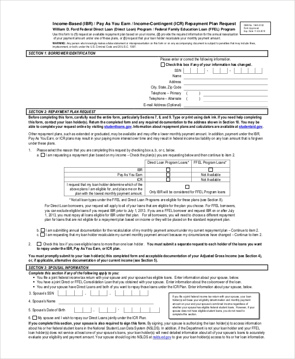 Sample Income Based Repayment Form   Examples In Pdf
