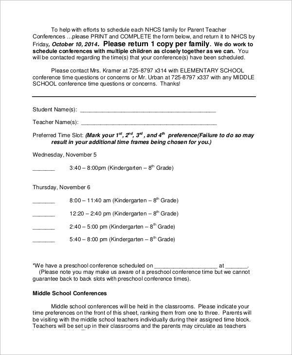 Sample Parent Teacher Conference Form   Examples In Word Pdf