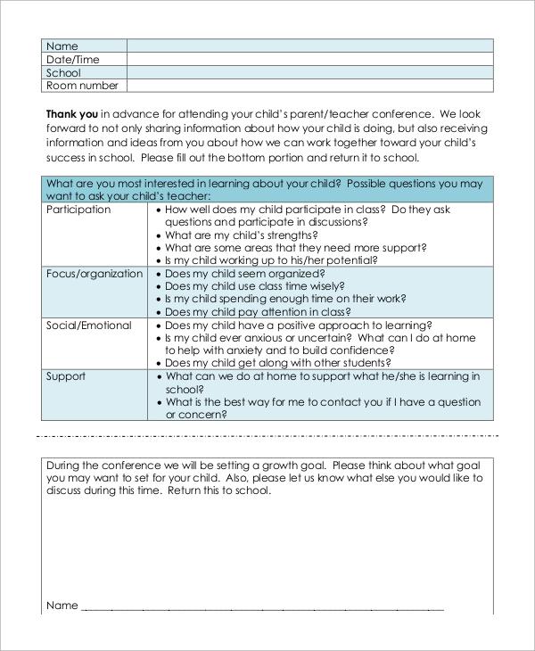 Sample Parent Teacher Conference Form