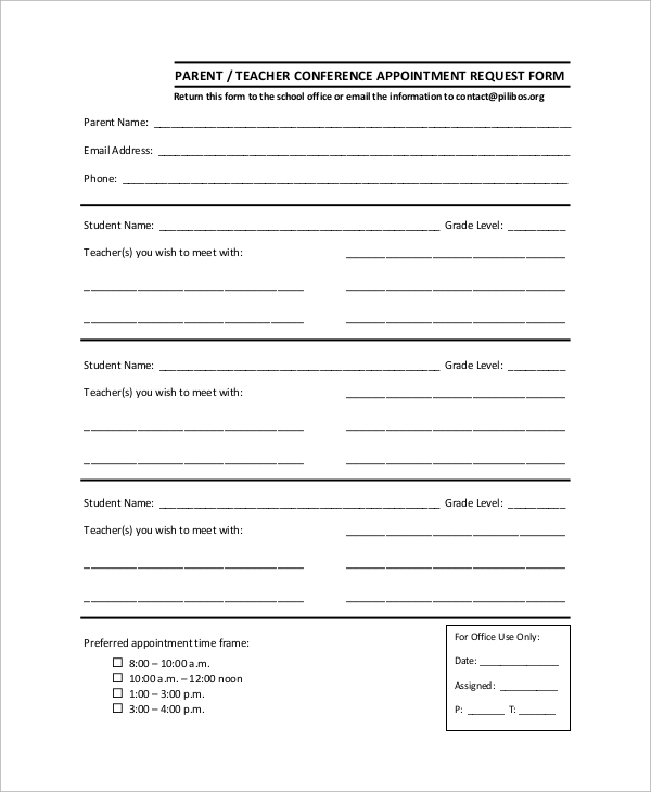 Sample Parent Teacher Conference Form - 9+ Examples In Word, Pdf