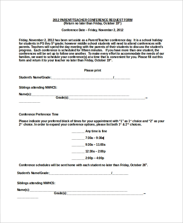 sample parent teacher conference form 9 examples in word pdf