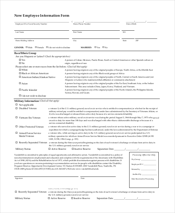 Sample Employee Information Form 10 Examples in PDF Word – Employee Information Form Sample