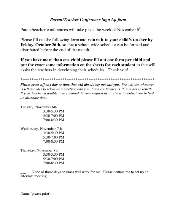 picture about Printable Parent Teacher Conference Forms named Pattern Mum or dad Instructor Meeting Sort - 9+ Illustrations within Phrase, PDF