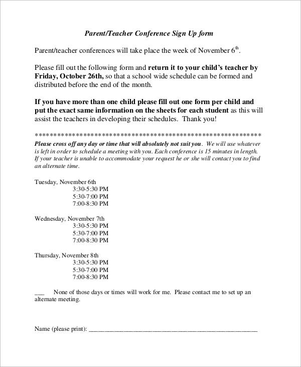 parent teacher conference sign up form