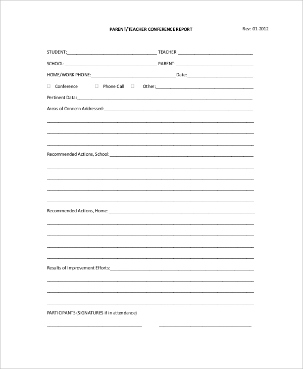 9 sample parent teacher conference forms sample templates for Parent teacher meeting report template