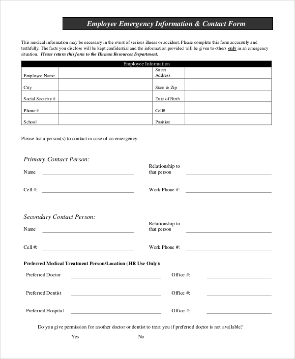 Sample Employee Information Form - 10+ Examples in PDF, Word