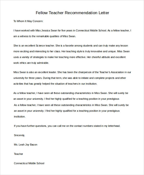 fellow teacher recommendation letter sample