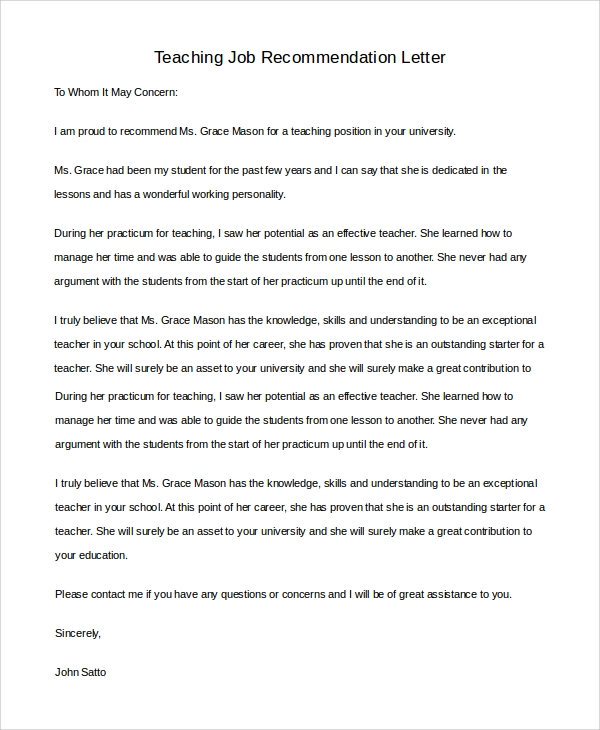 free 7  sample teacher letter of recommendation in pdf