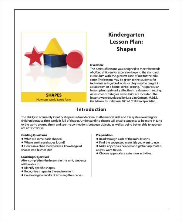 Sample Kindergarten Lesson Plan Examples In PDF - Kindergarten math lesson plan template