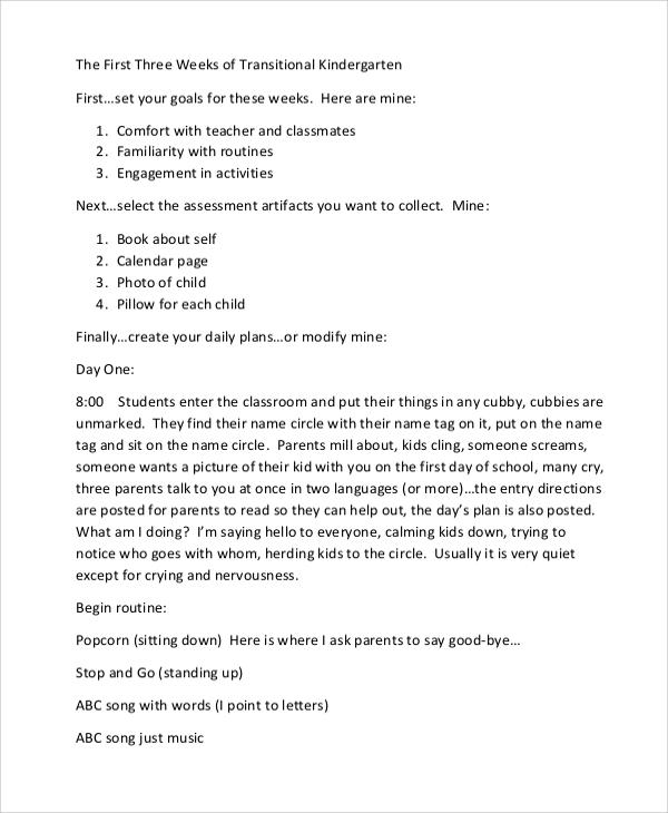 kindergarten three week lesson plan