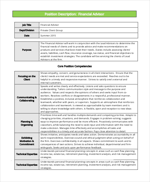 Sample Financial Advisor Job Description - 7+ Examples in PDF, Word