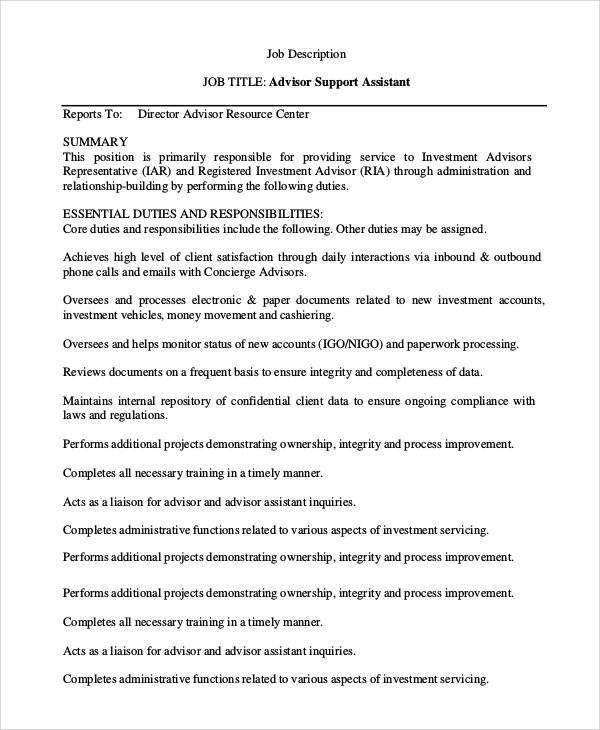 Sample Financial Advisor Job Description 7 Examples in PDF Word – Concierge Job Description